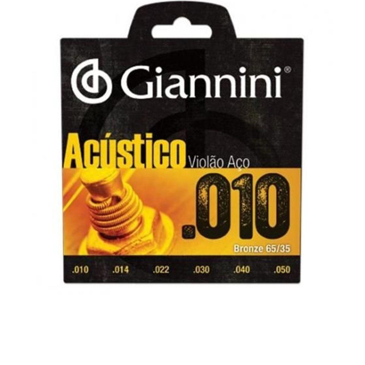 Encordoamento de Violão Aço Giannini Acústico 0.10