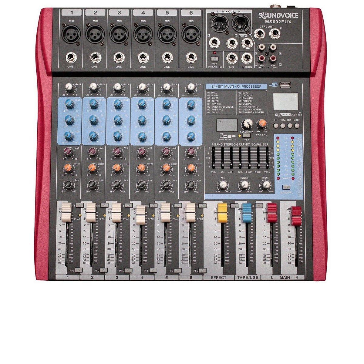 Mesa de Som Analógica Soundvoice MS602EUX 6 Canais