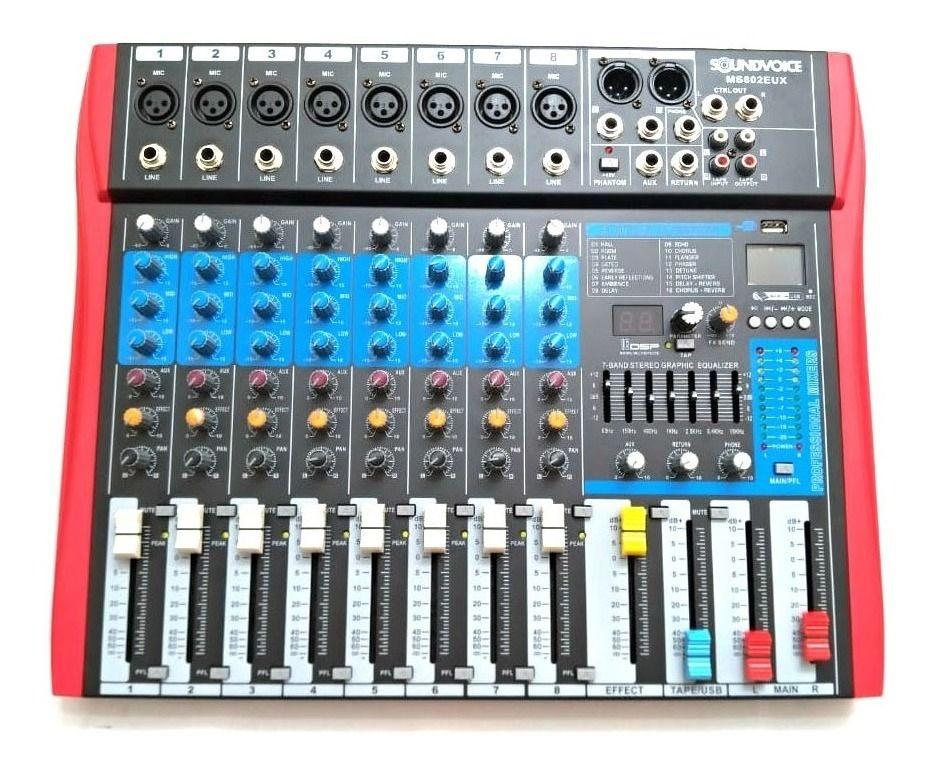Mesa de Som Analógica Soundvoice MS802EUX 8 Canais