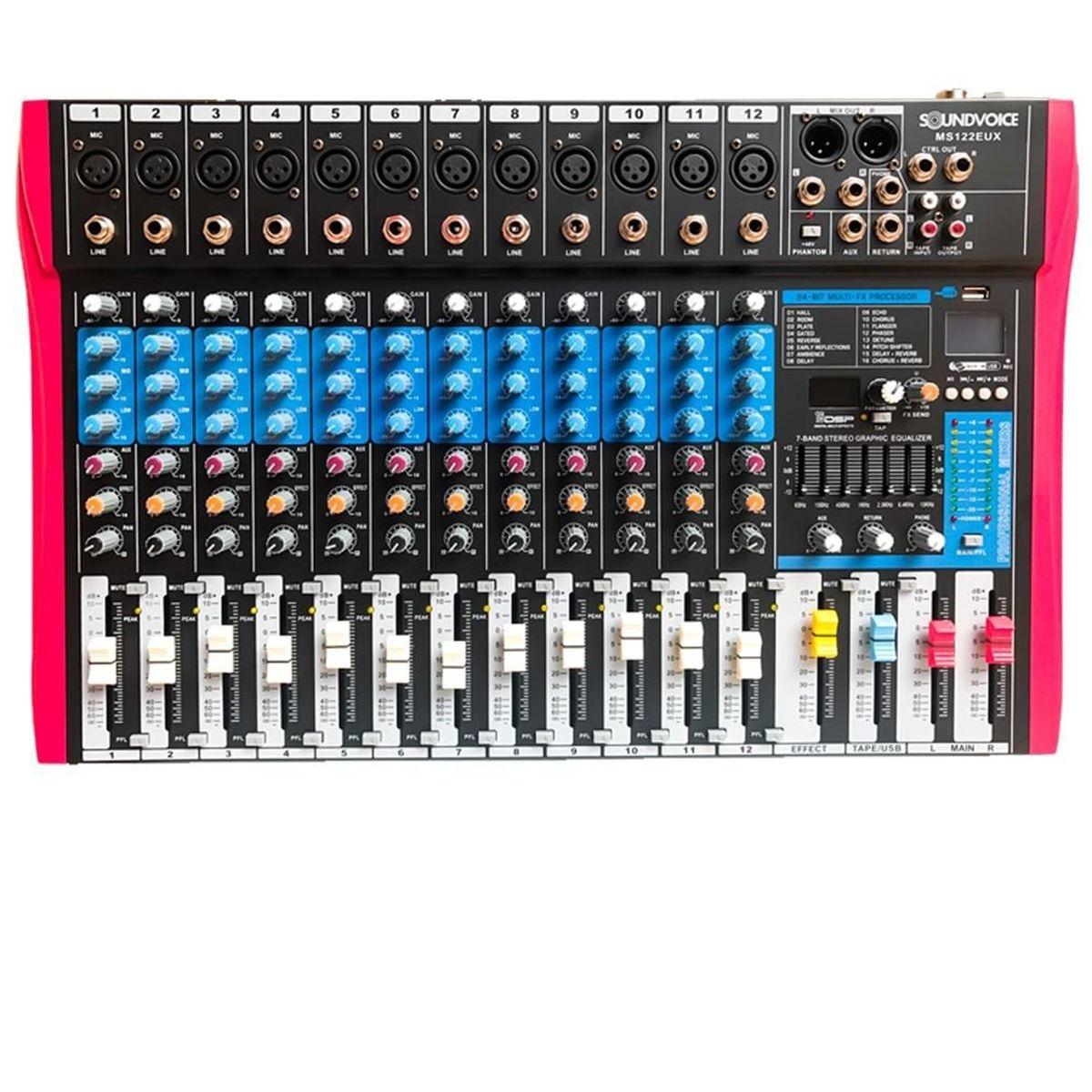 Mesa de Som Analógica Soundvoice MS122EUX 12 Canais
