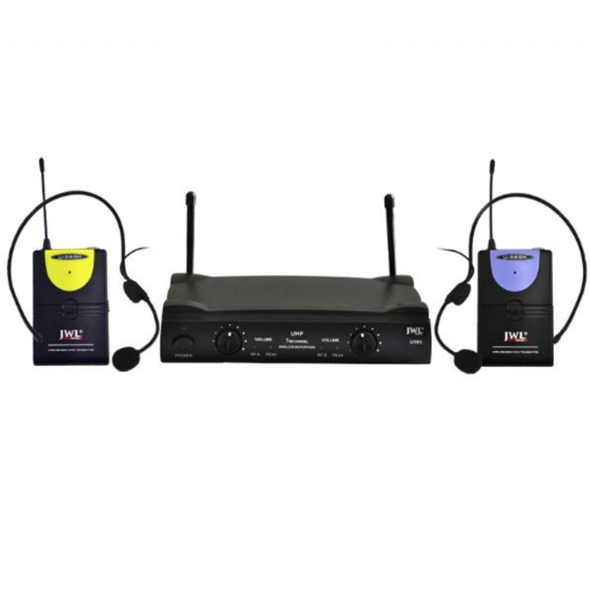 Microfone Sem Fio Duplo JWL Headset UHF U-585 HH