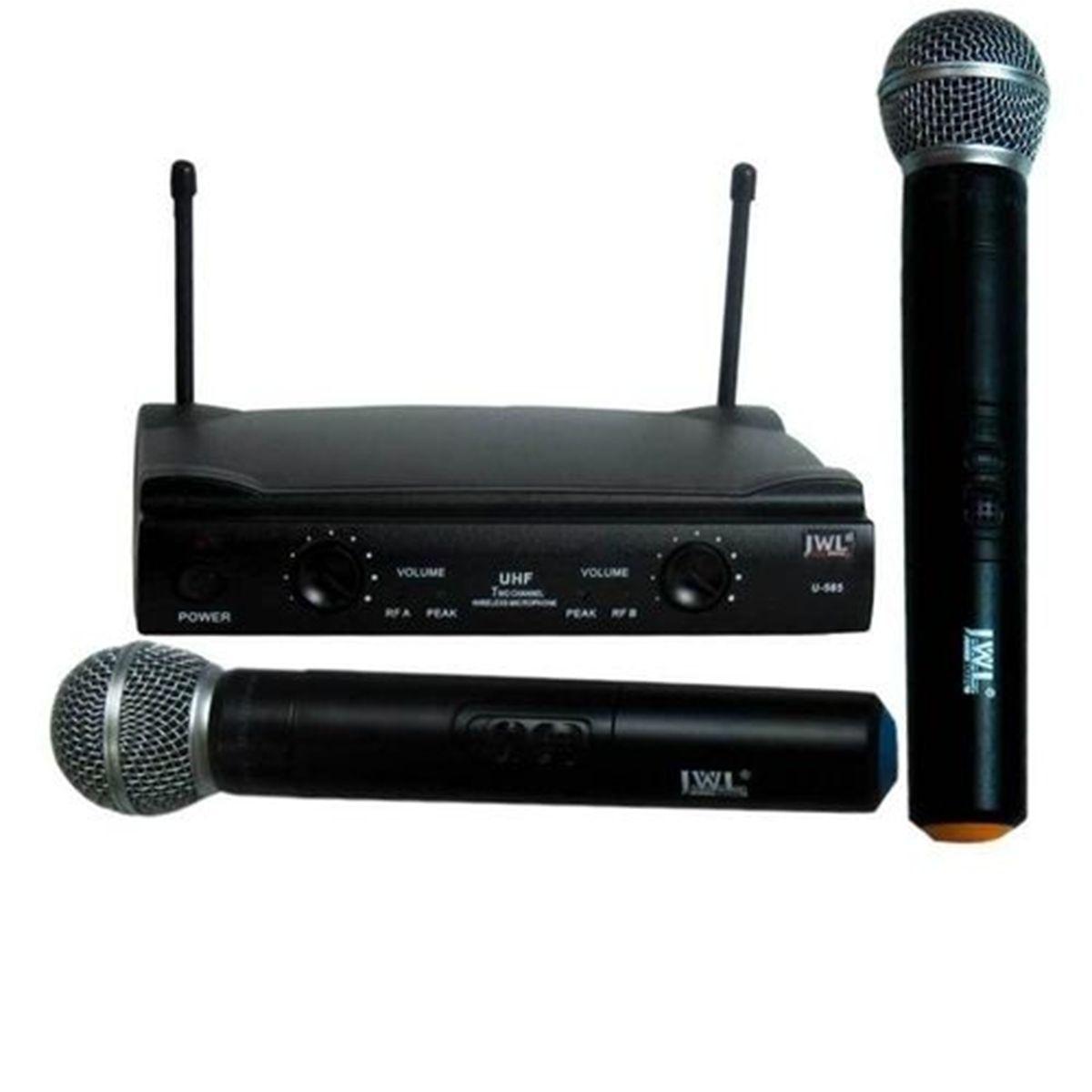 Microfone Sem Fio Duplo JWL de Mão U-585MM
