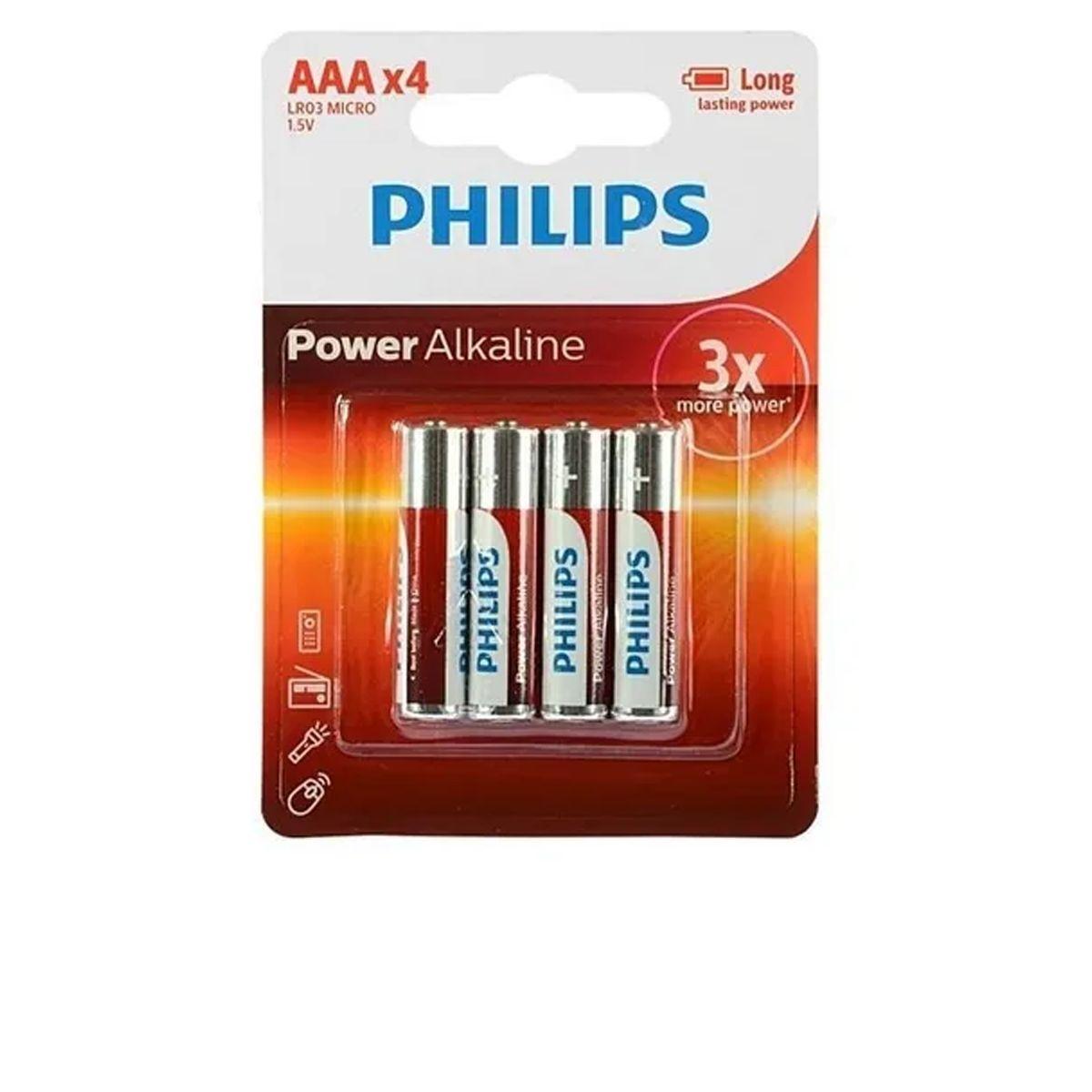 Pilha Alcalina Power AAA Philips LR03 Micro 1.5V